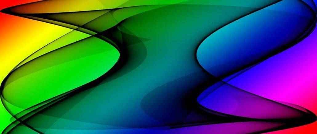 verschiedenfarbige Schwingungen als Symbol für elektromagnetische Schwingungen