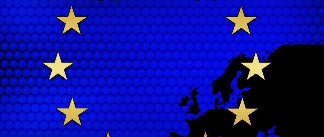 Symbol der EU: 12 goldenen Sterne auf blauem Grund