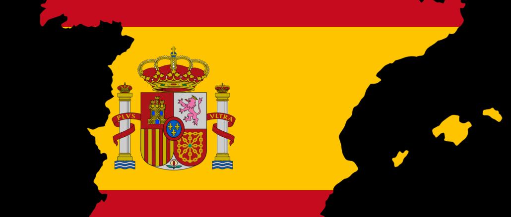 Spanische Landkarte eingefärbt in den Farben der Nationalflagge