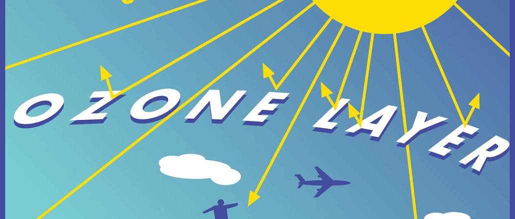 Darstellung der Sonne, Erde und des Ozons in der Atmosphäre